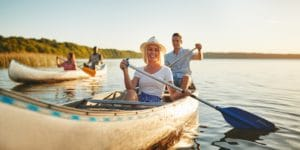 couple using canoe booked through online booking system