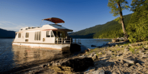 house boat in water